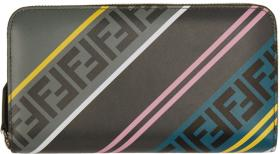 Fendi Grey 'Forever Fendi' Zip Around Wallet