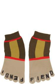 Fendi Brown & Beige Stripe Toe Socks