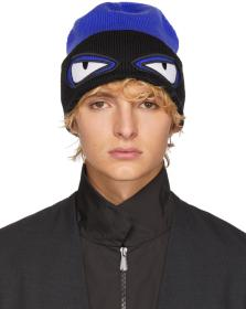 Fendi Blue & Black 'Bag Bugs' Beanie