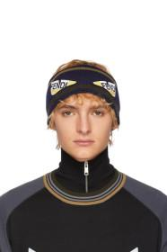 Fendi Navy & Brown Wool 'Bag Bugs' Headband