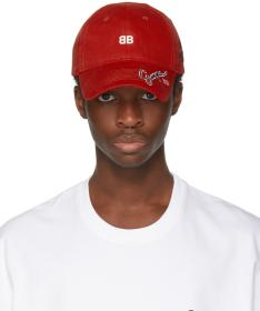 Balenciaga Red Multi Logo Cap