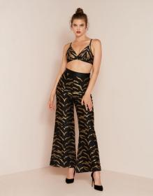 Genevieve Tux Trouser Black and Gold