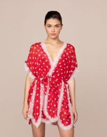 Ismay Short Gown Red And White