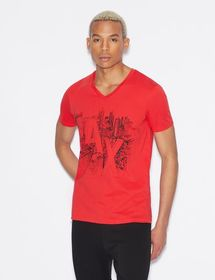 Armani V-NECK T-SHIRT WITH PRINT