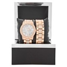 BEBE Womens Crystal Rose Gold Marble Dial Watch &