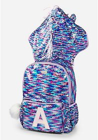 Justice Unicorn Flip Sequin Initial Hooded Backpac