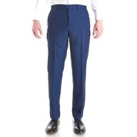 Mens Traditional Fit Flat Front Blue Birdseye Suit