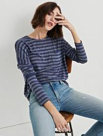 Lucky Brand Cloud Jersey Striped Pocket Pullover