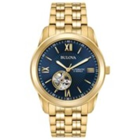 BULOVA Bulova Mens Blue Skeleton Dial Automatic Dr