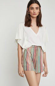 BCBG Striped Paperbag Waist Short