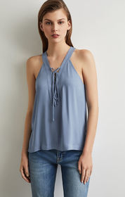 BCBG Sleeveless Lace-Up Top