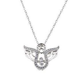 Absolute™ 0.31ctw Dancing CZ Angel Pendant with 18