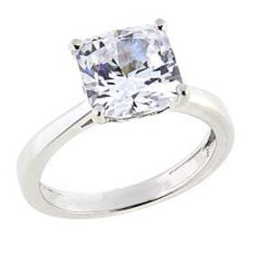 Absolute™ 3ctw CZ Sterling Silver Square Prong-Set