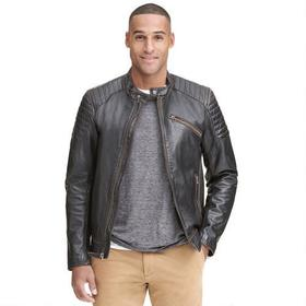 Black Rivet Quilted Leather Jacket w/ Accordion Si