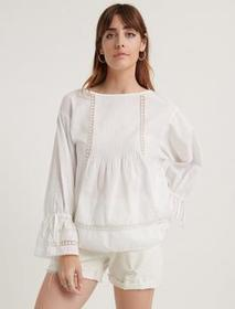 Lucky Brand Inset Cotton Voile Relaxed Blouse