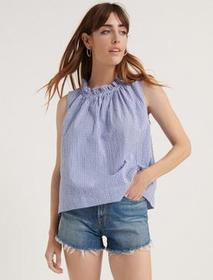 Lucky Brand Gingham Ruffle Neck Blouse