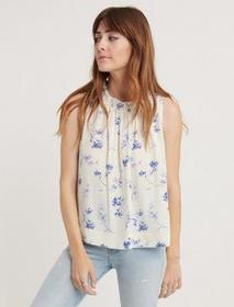 Lucky Brand Voile Ruffle Neck Blouse