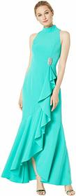 Vince Camuto Halter Neck Long Sleeve Gown with Ruf