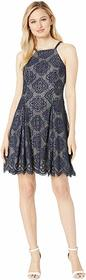 Vince Camuto Halter Neck Lace Fit and Flare Dress