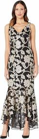 Calvin Klein Embroidered V-Neck Gown