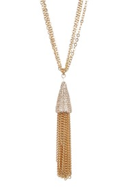 Savvy Cie Multi Chain Crystal Tassel Necklace - 32