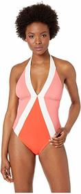 Vince Camuto Color Block Halter One-Piece with Rem