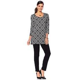 Slinky® Brand 2-piece 3/4-Sleeve Printed Tunic and
