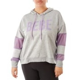 BEBE SPORT Plus Size Front Active Hoodie with Mesh