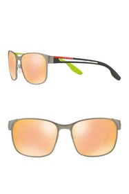 PRADA LINEA ROSSA 59mm Mirrored Square Sunglasses