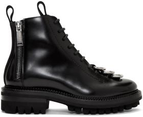 Dsquared2 Black Leather Lace-Up Boots