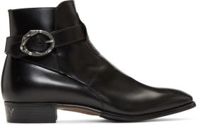 Gucci Black Side Buckle 'Guccy' Plata Boots