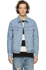 Balmain Blue Denim Coin Logo Jacket