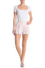 Theory Tohni R. Crunch Pleated Linen Blend Shorts