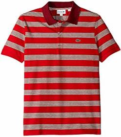 Lacoste Short Sleeve Polo Pique Regular Fit Stripe