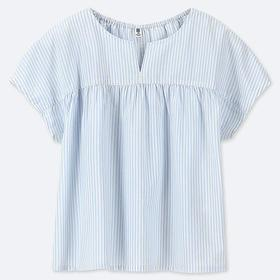 GIRLS STRIPED SHORT-SLEEVE BLOUSE
