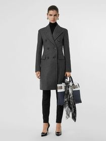 Burberry Double-breasted Wool Tailored Coat in Mid