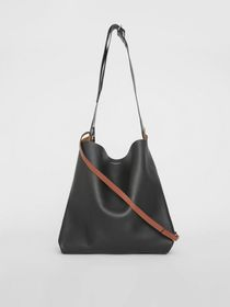 Burberry The Leather Grommet Detail Bag in Black