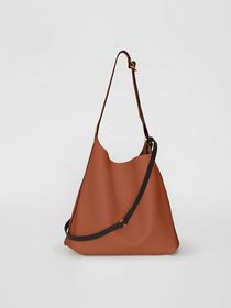 Burberry The Leather Grommet Detail Bag in Tan