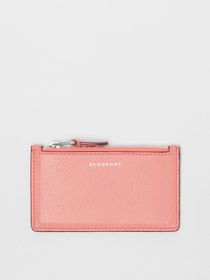 Burberry Two-tone Leather Zip Card Case in Dusty R