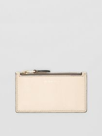 Burberry Two-tone Leather Card Case in Limestone