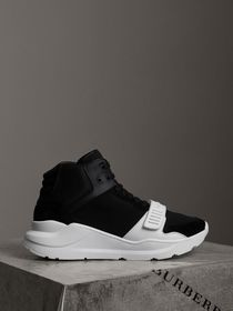 Burberry Suede and Neoprene High-top Sneakers in B