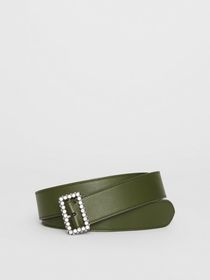 Burberry Leather Belt with Crystal Buckle in Dark