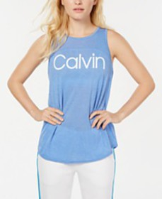 Calvin Klein Performance Logo Keyhole-Back Tank To