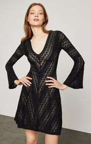 BCBG Striped Lace A-Line Dress