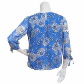 Sara Michelle 3/4 Tie Sleeve Pleated Front Floral