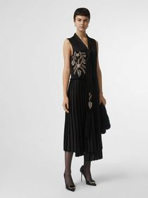 Burberry Bead-embellished Silk Satin Asymmetric Dr
