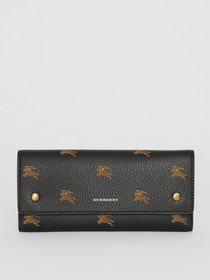 Burberry EKD Leather Continental Wallet in Black