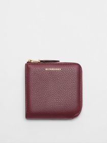 Burberry Grainy Leather Square Ziparound Wallet in