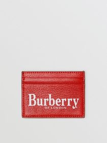 Burberry Logo Print Leather Card Case in Rust Red/
