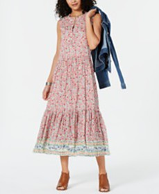 Style & Co Printed Sleeveless Tiered Maxi Dress, C